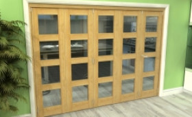Glazed Oak 5 Door 4l Roomfold Grande 3000mm (10ft) 4 + 1 Set Image
