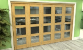 Glazed Oak 5 Door 4l Roomfold Grande (4 + 1 X 610mm Doors) Image