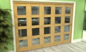 Glazed Oak 5 Door 4l Roomfold Grande (5 + 0 X 533mm Doors) Image
