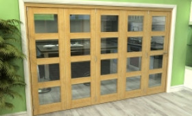 Glazed Oak 5 Door 4l Roomfold Grande (5 + 0 X 610mm Doors) Image