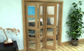 Glazed Oak Prefinished 3 Door 4l Roomfold Grande (3 + 0 X 533mm Doors) Image