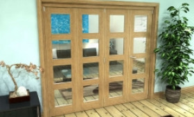 Glazed Oak Prefinished 4 Door 4l Roomfold Grande (3 + 1 X 610mm Doors) Image