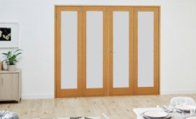 Glazed Oak Prefinished 4 Door Frosted Frenchfold ( 4 X 2