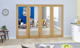 Glazed Oak Prefinished 4 Door Shaker Frenchfold (4 X 686mm Doors) Image