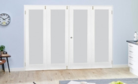 Glazed White Shaker Frenchfold Room Divider - Frosted Image