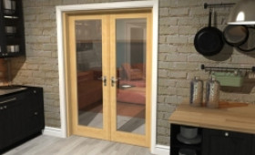 "Oak Prefinished French Door Set  - 27"" Pair Image"