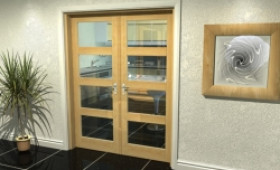 "Oak 4l French Door Set  - 30"" Pair Image"
