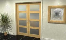 "4l Frosted Oak French Door Set  - 30"" Pair Image"