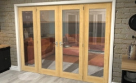 "Oak Prefinished French Door Set - 27"" Pair + 2 X 22.5"" Sidelights Image"