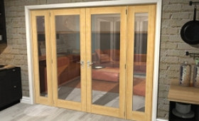 "Oak Prefinished French Door Set - 30"" Pair + 2 X 21"" Sidelights Image"