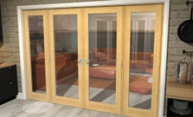 "Oak Prefinished French Door Set - 30"" Pair + 2 X 22.5"" Sidelights Image"
