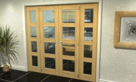 "Oak 4l French Door Set  - 21"" Pair + 2 X 15"" Sidelights Image"