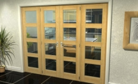 "Oak 4l French Door Set  - 21"" Pair + 2 X 16.5"" Sidelights Image"