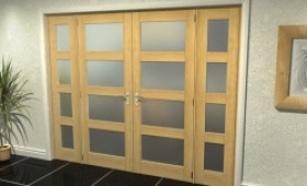 "4l Frosted Oak French Door Set  - 24"" Pair + 2 X 16.5"" Sidelights Image"