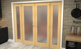 """Obscure Oak French Door Set - 27"""" Pair + 2 X 21"""" Sidelights Image"""