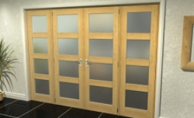 "4l Frosted Oak French Door Set - 27"" Pair + 2 X 22.5"" Sidelights Image"