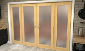 """Obscure Oak French Door Set - 30"""" Pair + 2 X 21"""" Sidelights Image"""