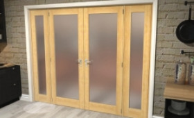 """Obscure Oak French Door Set  - 30"""" Pair + 2 X 15"""" Sidelights Image"""