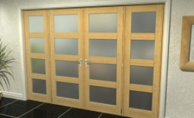 "4l Frosted Oak French Door Set  - 30"" Pair + 2 X 18"" Sidelights Image"