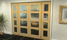 "Oak 4l French Door Set  - 22.5"" Pair + 2 X 18"" Sidelights Image"