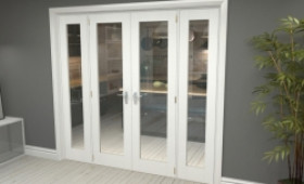 """P10 White French Door Set  - 21"""" Pair + 2 X 15"""" Sidelights Image"""