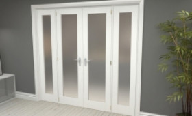 """Obscure White French Door Set  - 21"""" Pair + 2 X 15"""" Sidelights Image"""
