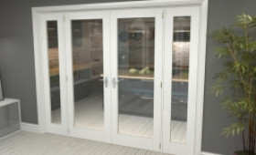 """P10 White French Door Set  - 30"""" Pair + 2 X 15"""" Sidelights Image"""