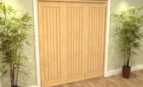 Mexicano Oak 3 Door Roomfold Grande (2 + 1 X 533mm Doors) Image