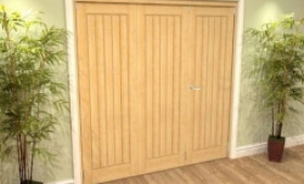 Mexicano Oak 3 Door Roomfold Grande (2 + 1 X 686mm Doors) Image