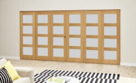 Oak 4l Shaker Glazed Roomfold Deluxe (3 + 3 X 610mm Doors) Image