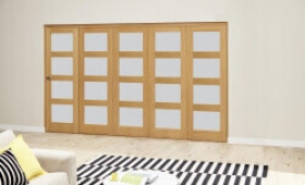 Oak 4l Shaker Glazed Roomfold Deluxe (5 X 686mm Doors) Image