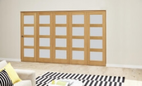 Oak 4l Shaker Glazed Roomfold Deluxe (5 X 762mm Doors) Image