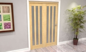 Oak Aston Frosted Glazed 2 Door Roomfold Grande (2 + 0 X 610mm Doors) Image