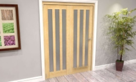Oak Aston Frosted Glazed 2 Door Roomfold Grande (2 + 0 X 686mm Doors) Image