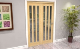 Oak Aston Glazed 2 Door Roomfold Grande (2 + 0 X 610mm Doors) Image