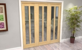 Oak Aston Glazed 3 Door Roomfold Grande (2 + 1 X 610mm Doors) Image