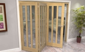 Oak Aston Glazed 3 Door Roomfold Grande (3 + 0 X 762mm Doors) Image
