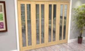 Oak Aston Glazed 4 Door Roomfold Grande (3 + 1 X 610mm Doors) Image