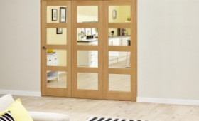 Oak Prefinished 4l Roomfold Deluxe ( 3 X 610mm Doors) Image
