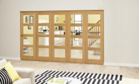 Oak Prefinished 4l Roomfold Deluxe ( 5 X 762mm Doors) Image
