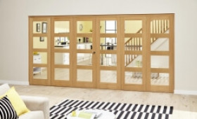 Oak Prefinished 4l Roomfold Deluxe (3 + 3 X 610mm Doors) Image