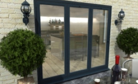 Part Q 2400mm Grey Aluminium Bifold Doors - Climadoor Image