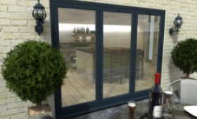 Part Q 2700mm Grey Aluminium Bifold Doors - Climadoor Image