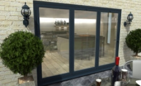 Part Q 3000mm ( 3 + 0 ) Grey Aluminium Bifold Doors - Climadoor Image