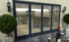 Part Q 3600mm ( 3 + 1 ) Grey Aluminium Bifold Doors - Climadoor Image