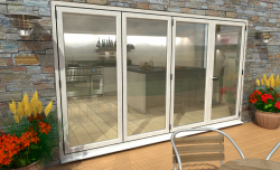 Part Q 3600mm ( 3 + 1 ) White Aluminium Bifold Doors - Climadoor Image