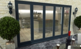 Part Q 3600mm ( 5 + 0 ) Grey Aluminium Bifold Doors - Climadoor Image