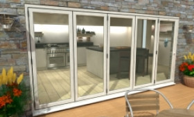 Part Q 4200mm ( 5 + 0 ) White Aluminium Bifold Doors - Climadoor Image