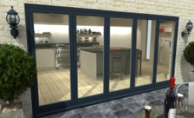 Part Q 4800mm ( 5 + 0 ) Grey Aluminium Bifold Doors - Climadoor Image