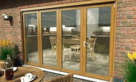 Part Q Solid Oak Bifold Door 3000mm (10ft)  Image